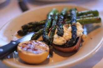 Grilled asparagus with Bellwether Farms ricotta